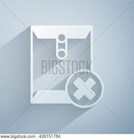 Paper Cut Delete Envelope Icon Isolated On Grey Background. Delete Or Error Letter. Cross On Message