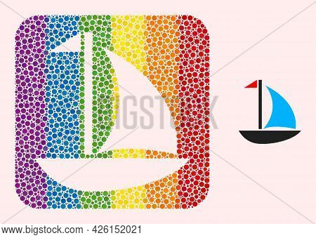 Dotted Mosaic Sail Boat Subtracted Icon For Lgbt. Rainbow Colored Rounded Rectangle Mosaic Is Around