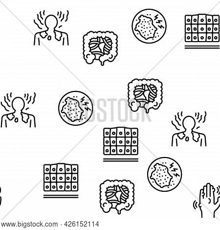 Disease Human Problem Vector Seamless Pattern Thin Line Illustration