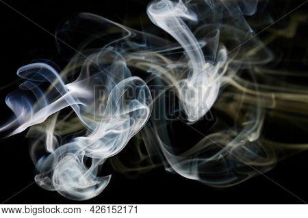 White Abstract Colorful Smoke Shape