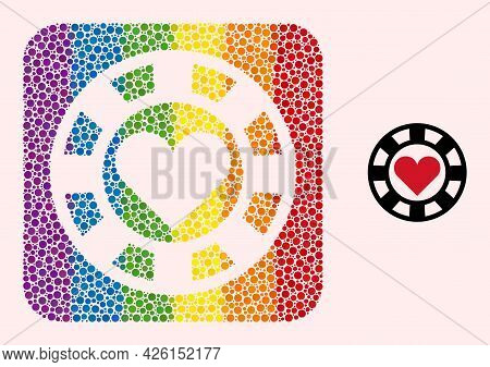Dotted Mosaic Hearts Casino Chip Stencil Pictogram For Lgbt. Rainbow Colored Rounded Rectangle Mosai