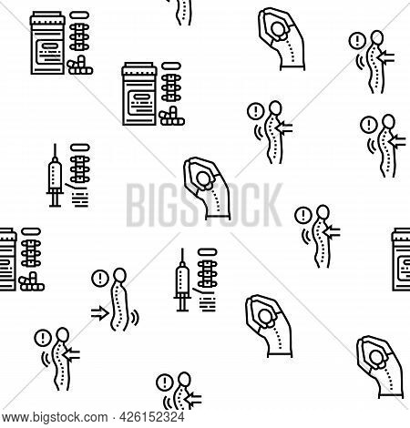 Scoliosis Disease Collection Icons Set Vector. Corset And Surgery Medical Operation For Treatment Ky