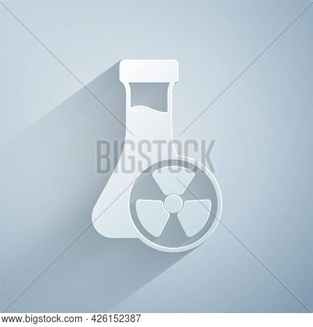 Paper Cut Laboratory Chemical Beaker With Toxic Liquid Icon Isolated On Grey Background. Biohazard S