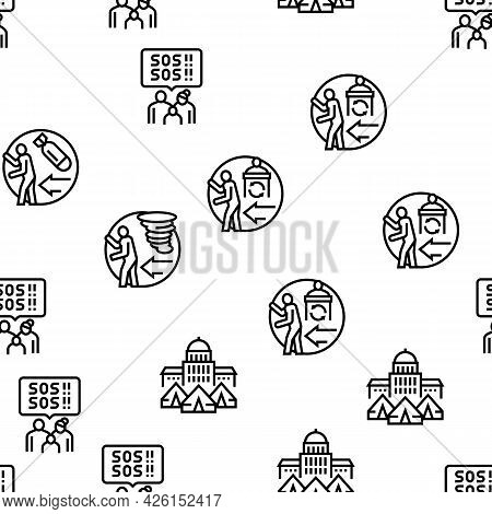 Refugee From Problem Collection Icons Set Vector. Man And Family Refugee Escape From War And Hurrica