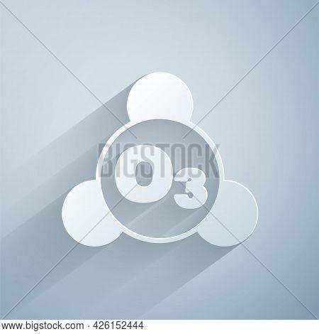 Paper Cut Ozone Molecule Icon Isolated On Grey Background. Ozone, O3, Trioxygen, Inorganic Molecule.
