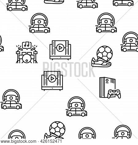 Mens Leisure Time Collection Icons Set Vector. Video Games Phone App And Watch Movie, Smoke Hookah A