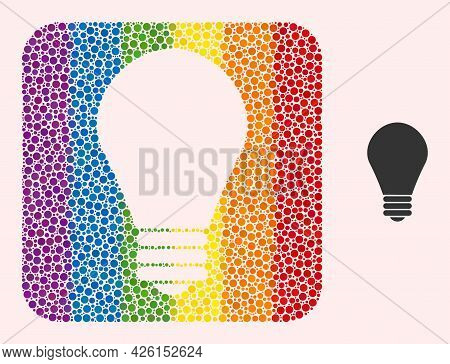 Dotted Mosaic Lamp Bulb Carved Pictogram For Lgbt. Colorful Rounded Rectangle Mosaic Is Around Lamp