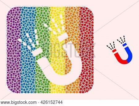 Dotted Mosaic Magnet Force Hole Pictogram For Lgbt. Multicolored Rounded Rectangle Mosaic Is Around