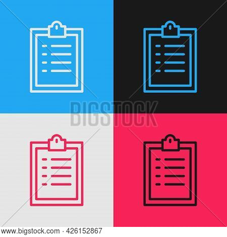 Pop Art Line Clipboard With Checklist Icon Isolated On Color Background. Control List Symbol. Survey