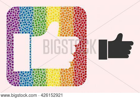 Dotted Mosaic Thumb Up Stencil Pictogram For Lgbt. Colored Rounded Square Mosaic Is Around Thumb Up