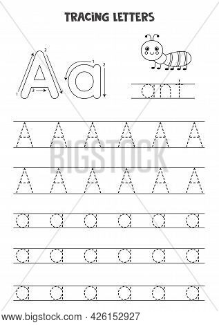 Trace Letters Of English Alphabet. Uppercase And Lowercase Aa. Handwriting Practice For Preschool Ki