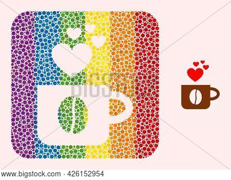 Dot Mosaic Love Coffee Cup Hole Pictogram For Lgbt. Rainbow Colored Rounded Square Mosaic Is Around