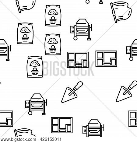 Concrete Production Vector Seamless Pattern Thin Line Illustration
