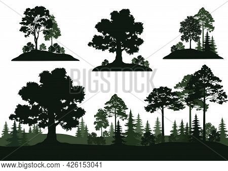Set Isolated On White Background Landscapes, Trees And Bushes. Vector