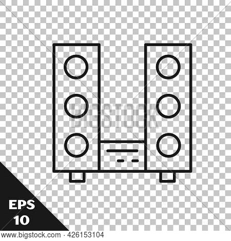 Black Line Home Stereo With Two Speaker S Icon Isolated On Transparent Background. Music System. Vec