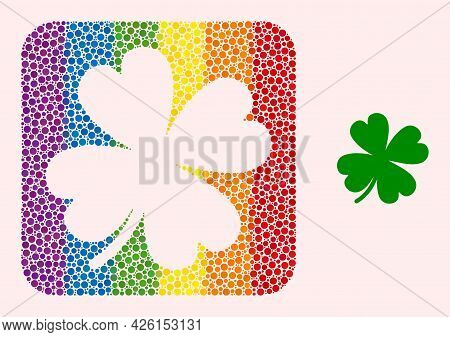 Dotted Mosaic Lucky Clover Leaf Hole Pictogram For Lgbt. Multicolored Rounded Square Mosaic Is Aroun