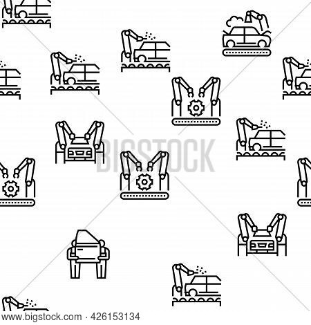 Car Factory Production Vector Seamless Pattern Thin Line Illustration