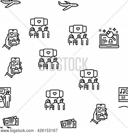 Womens Leisure Time Vector Seamless Pattern Thin Line Illustration