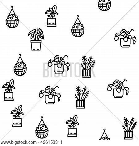 Houseplant Store Sale Vector Seamless Pattern Thin Line Illustration