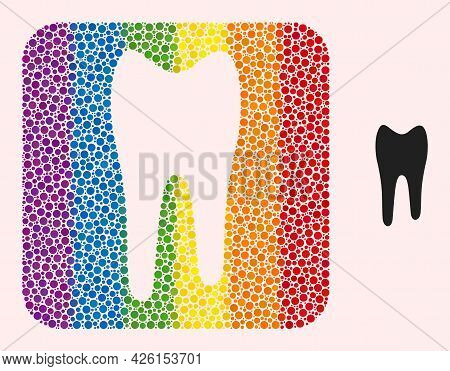 Dotted Mosaic Tooth Subtracted Pictogram For Lgbt. Rainbow Colored Rounded Square Mosaic Is Around T