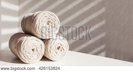 Handmade Macrame Braiding And Cotton Threads. Hobby Knitting Cotton Yarn Reel. Natural Cotton Cord.