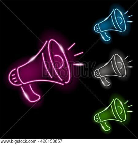 Set Of Neon Loudspeaker Icons In Four Different Colours Isolated On Black Background. Loud, Speech,