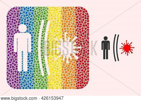 Dot Mosaic Virus Shield Subtracted Pictogram For Lgbt. Colorful Rounded Square Mosaic Is Around Viru