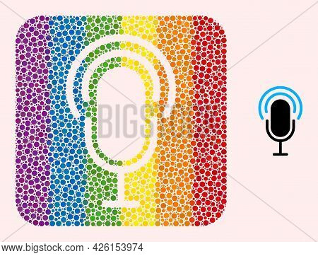 Dot Mosaic Microphone Stencil Icon For Lgbt. Rainbow Colored Rounded Square Collage Is Around Microp