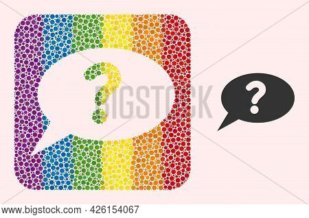 Dot Mosaic Unknown Message Hole Icon For Lgbt. Rainbow Colored Rounded Square Mosaic Is Around Unkno
