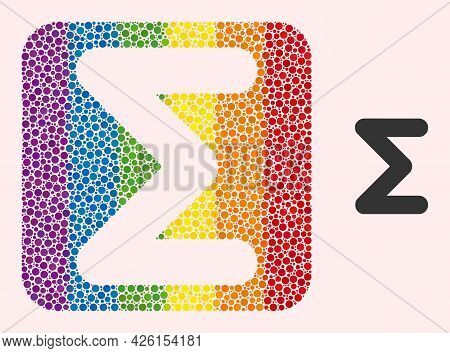Dot Mosaic Sum Carved Icon For Lgbt. Color Rounded Square Mosaic Is Around Sum Carved Shape. Lgbt Ra