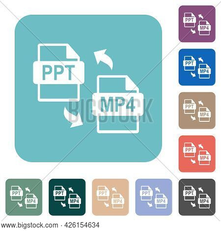 Ppt Mp4 File Conversion White Flat Icons On Color Rounded Square Backgrounds