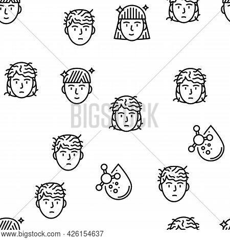 Keratin Hair Procedure Vector Seamless Pattern Thin Line Illustration