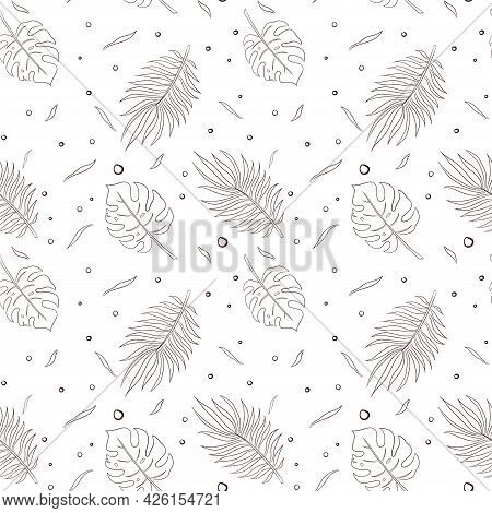 Line Art Tropical Leaves Seamless Pattern. Rainforest Leaves Ornament For Background, Backdrop, Wall
