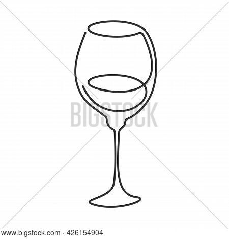 One Line Drawing Wine Glass On White Background. Cartoon Graphic Sketch For Celebration Design. Cont