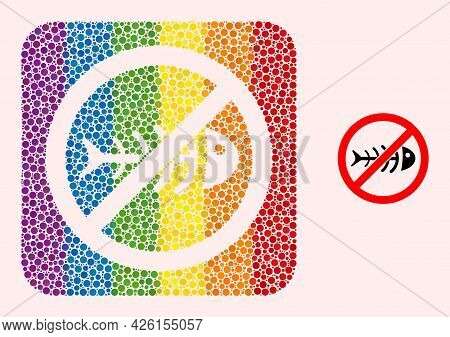 Dot Mosaic Stop Toxic Waste Hole Icon For Lgbt. Multicolored Rounded Square Mosaic Is Around Stop To