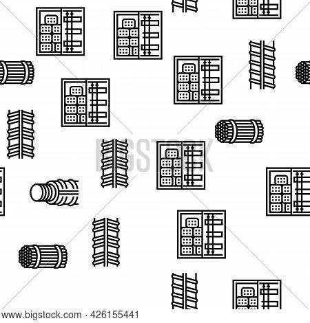 Rebar Construction Vector Seamless Pattern Thin Line Illustration