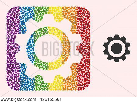 Dot Mosaic Gear Hole Icon For Lgbt. Multicolored Rounded Rectangle Collage Is Around Gear Hole. Lgbt