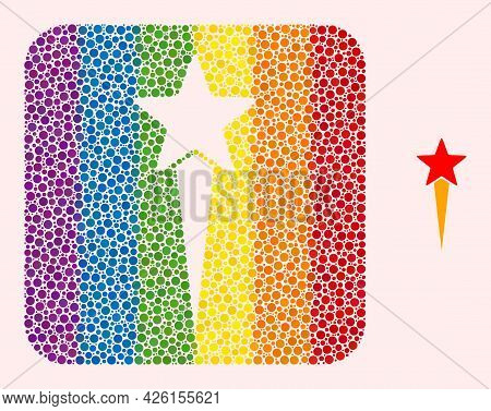 Dot Mosaic Star Start Stencil Pictogram For Lgbt. Rainbow Colored Rounded Rectangle Mosaic Is Around