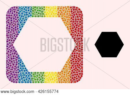 Dot Mosaic Hexagon Hole Icon For Lgbt. Color Rounded Rectangle Mosaic Is Around Hexagon Hole. Lgbt R