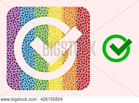 Dotted Mosaic Validation Carved Pictogram For Lgbt. Rainbow Colored Rounded Square Mosaic Is Around