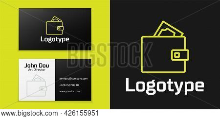 Logotype Line Wallet With Stacks Paper Money Cash Icon Isolated On Black Background. Purse Icon. Cas