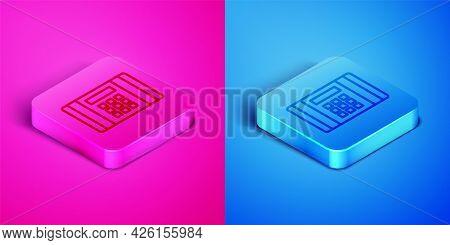 Isometric Line Detonate Dynamite Bomb Stick Icon Isolated On Pink And Blue Background. Time Bomb - E