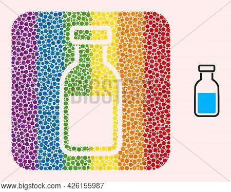 Dot Mosaic Vial Stencil Icon For Lgbt. Multicolored Rounded Rectangle Mosaic Is Around Vial Stencil.