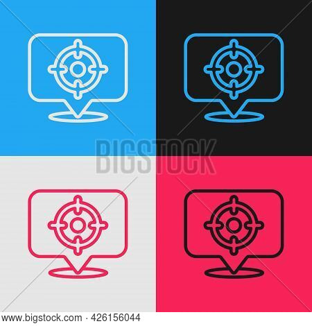 Pop Art Line Target Sport Icon Isolated On Color Background. Clean Target With Numbers For Shooting