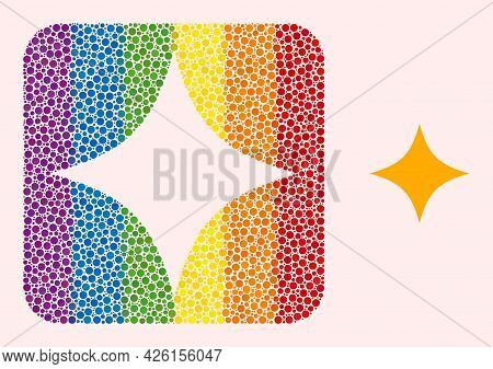 Dotted Mosaic Space Star Carved Icon For Lgbt. Colorful Rounded Square Mosaic Is Around Space Star C