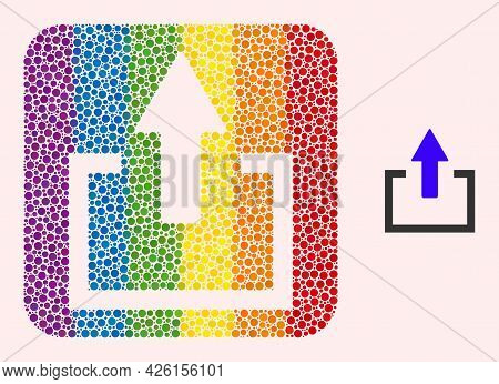 Dot Mosaic Upload Subtracted Pictogram For Lgbt. Rainbow Colored Rounded Rectangle Collage Is Around
