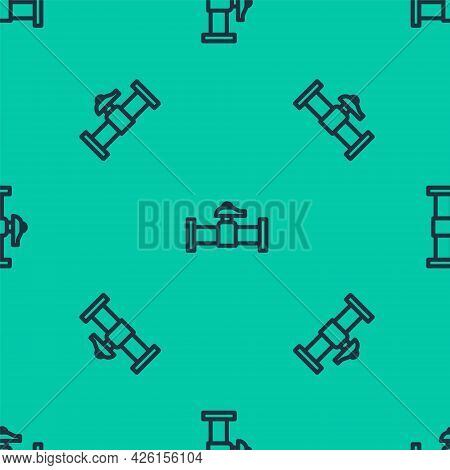 Blue Line Industry Metallic Pipe And Valve Icon Isolated Seamless Pattern On Green Background. Vecto