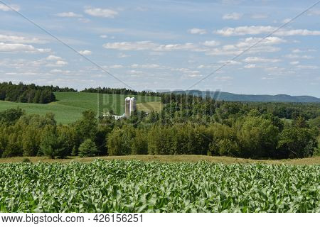 Countryside Landscape With Farm In Quebec, Canada