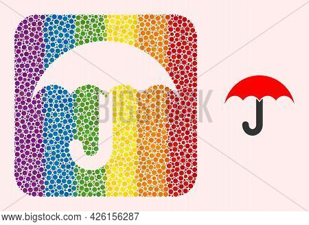 Dotted Mosaic Umbrella Carved Pictogram For Lgbt. Rainbow Colored Rounded Rectangle Mosaic Is Around