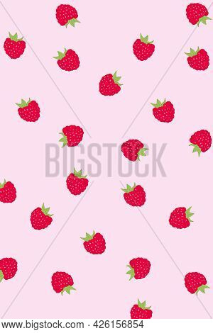 Vector Raspberries Set. Bright Pink Strawberry. Pattern, Wallpaper, Textiles, Coloring